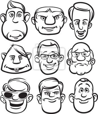 Desenho Whiteboard Rostos Masculinos Em Quadrinhos Fotomural