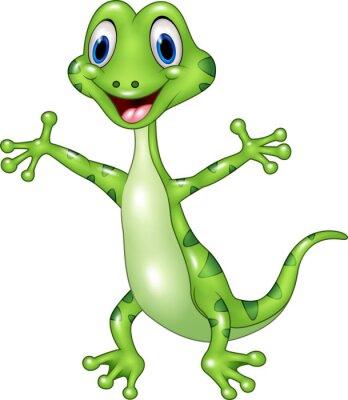 Fotomural Desenhos animados engraçado lagarto verde posando isolado no fundo branco