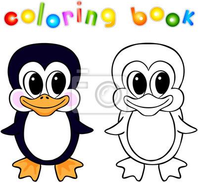 Desenhos Animados Engracados Do Pinguim Para Colorir Livro