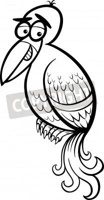 Desenhos Animados Preto E Branco Ilustracao De Fantasia Passaro