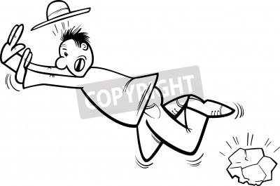 Desenhos Animados Preto E Branco Ilustracao De Homem Engracado