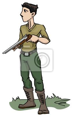 desenhos animados soldado personagem com arma fotomural fotomurais