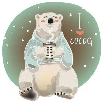 Fotomural Desenhos animados urso branco com copo de bebida quente