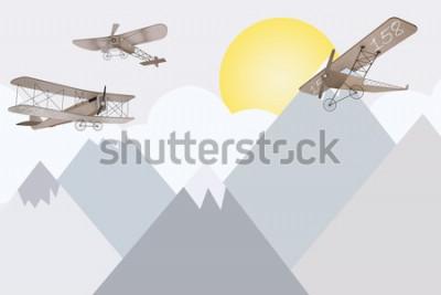 Fotomural Design de papel de parede de quarto infantil de montanhas e biplanos