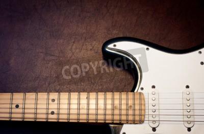 Fotomural Detalhe de corpo e pescoço de guitarra elétrica em fundo de madeira, olhar vintage