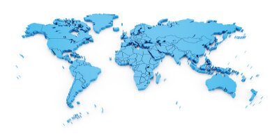 Fotomural Detalhe mapa do mundo com as fronteiras nacionais, 3d render