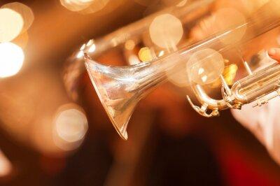 Fotomural Detalhe, trompete, closeup, dourado, tons