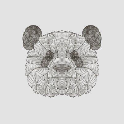 Fotomural Detalhe zentangle. Boho mão tirada stile panda retrato. Ilustração do vetor.