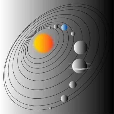 Fotomural Diagrama do sistema solar. Ilustração da estrutura do sistema solar. Terra o planeta azul.