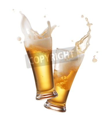 Fotomural Dois, óculos, cerveja, brindar, criação, respingo