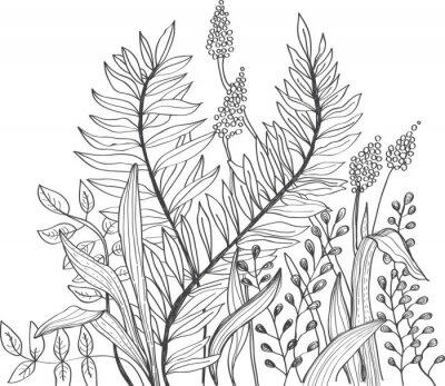 Fotomural Doodle romântico flor fundo
