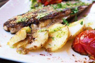 Fotomural Dorado, peixe, filete, legumes