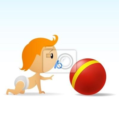 Dos Desenhos Animados Bonito Bebe Engatinhando Para Bola Vermelha