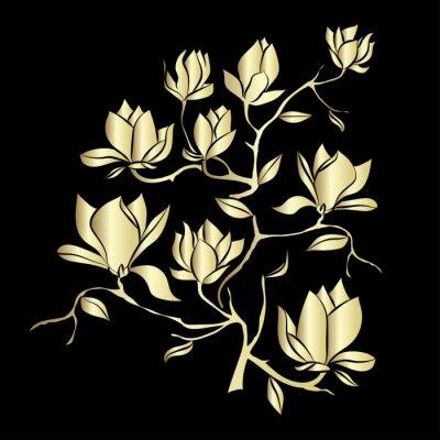 Fotomural Dourado, florescendo, ramo, magnólia, pretas, fundo, vetorial, Ilustração