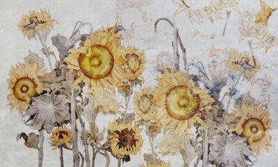Fotomural Drawing of sunflowers, illustration of flowers. Flowers for wallpaper, photo wallpaper, mural, card, postcard. Beautiful wallpaper design.