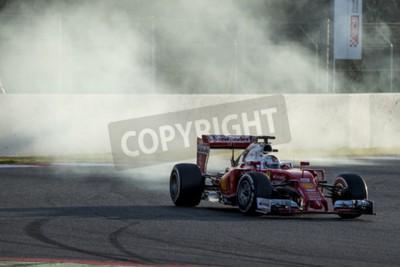 Fotomural Driver Sebastian Vettel. Ferrari. Dias do teste da fórmula um no circuito de Catalunya. Montmelo, Spain. 2 de março de 2016