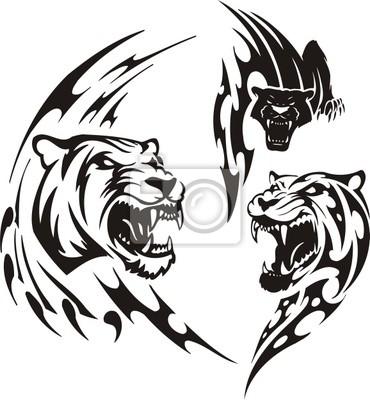 Duas Leoas E Pantera Negra Predadores Tribais Fotomural