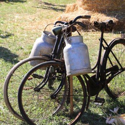 Fotomural Duas velhas bicicletas oxidadas para o transporte de leite na caixa