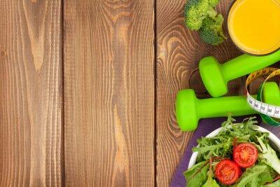 Fotomural Dumbells, fita métrica e alimentos saudáveis. Fitness e saúde