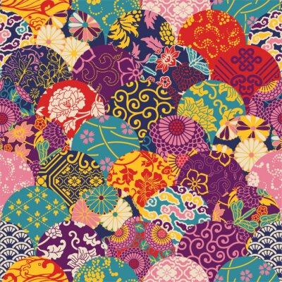 Fotomural Eastern patchwork de tecido de estilo, padrão de vetor sem costura