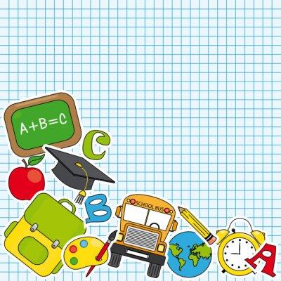 Fotomural Educação e ícone escola set. Espaço para o texto