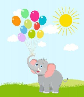 Fotomural Elefante do bebê com balões, nuvens e sol. Vetor dos desenhos animados. Talvez