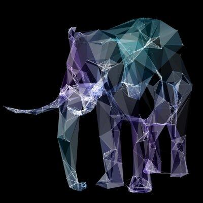 Fotomural Elefante no projeto do polígono. Ilustração de Digitas. Conceito