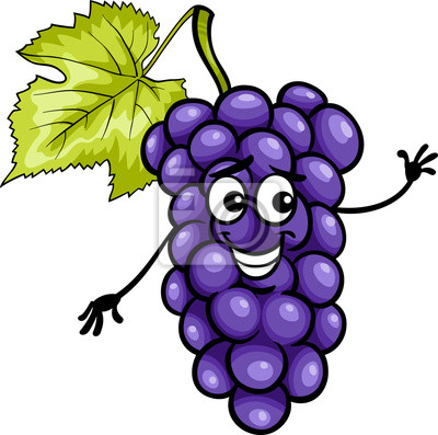 engraçado ilustração uvas azuis fruta dos desenhos animados