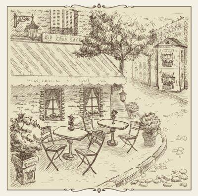 Fotomural Entregue a ilustração tirada, café da rua na cidade velha.