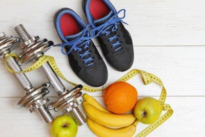 Fotomural equipamentos de fitness e nutrição saudável no branco prancha de madeira fl
