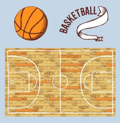 Fotomural Esboço, basquetebol, jogo, corte, bola