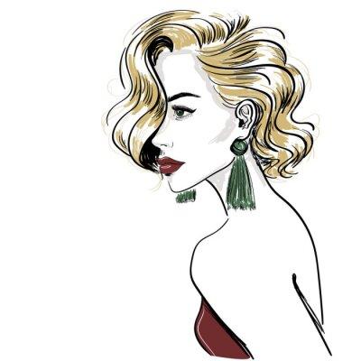 Fotomural esboço de mulher loira clássica com ondas de cabelo