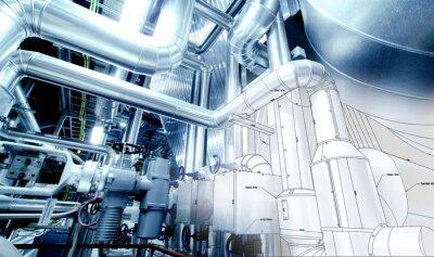 Fotomural Esboço do projeto de tubulação misturado com equipamento de fotografia industrial