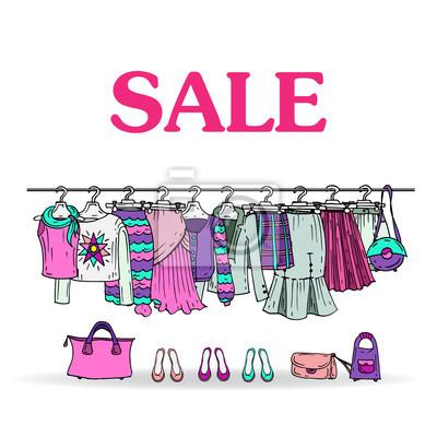ede10c26e Fotomural Esboço do vetor com venda de roupas e acessórios das mulheres
