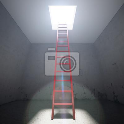 Fotomural Escada vermelha até a saída do escuro