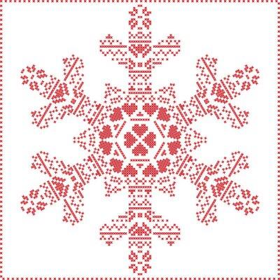 Fotomural Escandinavo, nórdico, crucifixos, fazendo, Natal, Padrão, em, floco de neve, FORMA, com, cruz, ponto, quadro, incluir, neve, corações, estrelas, decorativo, elementos ...