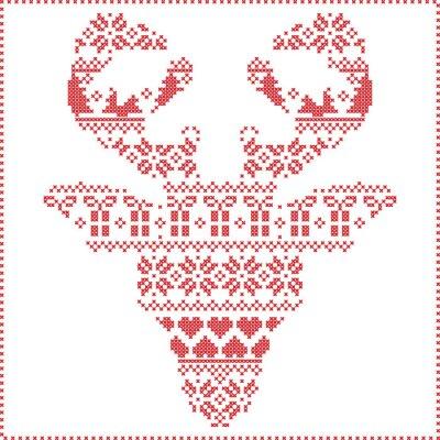 Fotomural Escandinavo, nórdico, inverno, costura, confecção de malhas, Natal, Padrão, dentro, rena, cabeça, forma, frontal, incluindo, flocos, corações, xmas, árvores, natal, presentes, neve, estrelas