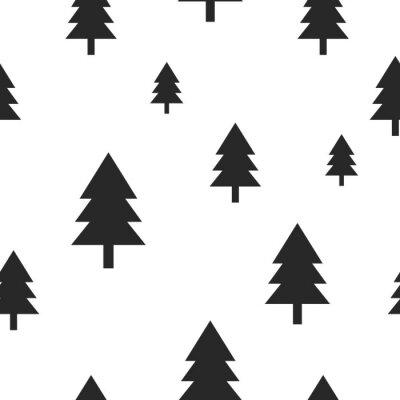 Fotomural Escandinavo, pretas, floresta, árvore, branca, vetorial, seamless, Projeto simples e na moda para a tela de matéria têxtil, papel do envoltório, cópias.