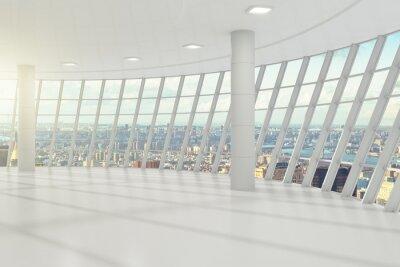 Fotomural Escritório branco vazio com cityview
