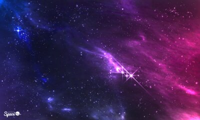 Fotomural Espaço profundo. Ilustração do vetor da nebulosa cósmica com conjunto de estrela.