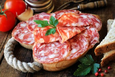Fotomural Espanhol, tapas, cortado, salame, rústico, madeira, corte, tábua, pão, tomates