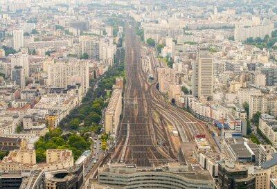 Fotomural Estação de trem de Paris como visto do ponto de vista elevado