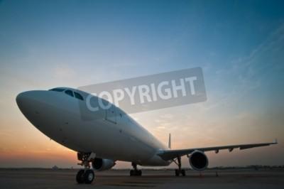 Fotomural Estacionamento comercial do avião no aeroporto