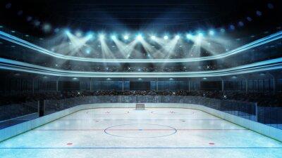 Fotomural estádio de hóquei com os espectadores e uma pista de gelo vazio
