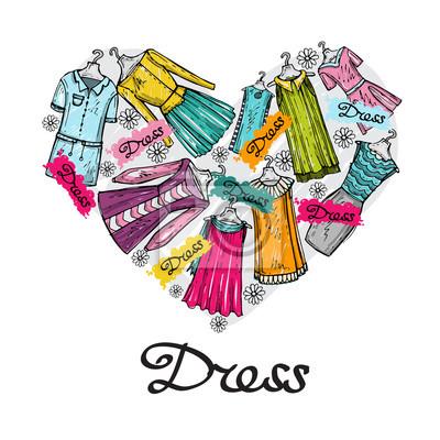 5db97a7dd Fotomural Estilizado do vetor coração com vestidos de mão para mulheres