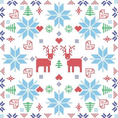 Fotomural Estilo escandinavo Nordic inverno stich, tricô padrão sem costura na forma quadrada, incluindo flocos de neve, árvores, xmas flocos de neve, corações, renas e Elementos decorativos em azulejo vermelho