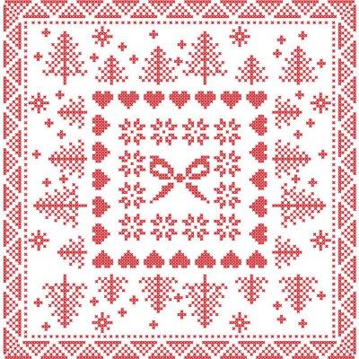 Fotomural Estilo escandinavo Nordic inverno stitch, tricô padrão sem costura na praça, telha forma incluindo flocos de neve, arco, árvore de Natal, xmas flocos de neve, corações, Elementos decorativos em vermel
