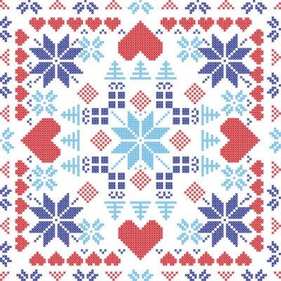 Fotomural Estilo escandinavo Nordic inverno switch vermelho, tricô padrão sem costura na forma quadrada, incluindo flocos de neve, xmas presentes, árvores xmas, corações e elementos decorativos em vermelho e az