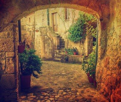 Fotomural Estreito rua de medieval tuff cidade sorano com arco, verde plantas e cobblestone, Viagem Itália vindima fundo