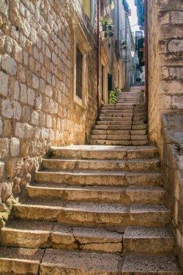 Fotomural Estreito, rua, escadas, antigas, cidade, Dubrovnik, Croácia ...